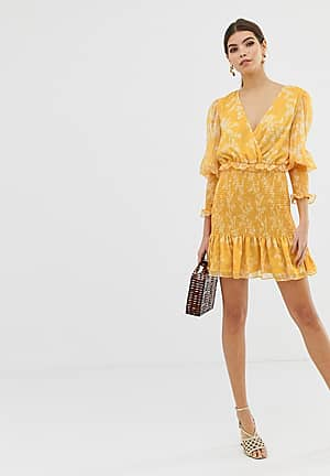 Embrace mini dress in golden floral