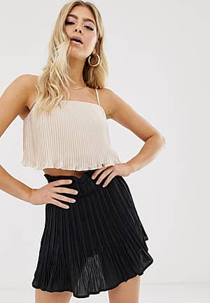 cami crop top with waterfall pleats in blush