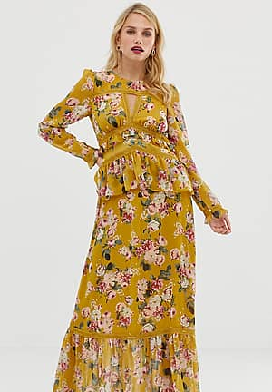 maxi dress with lace details in floral print
