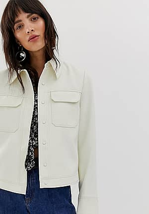 pocket detail popper fasten jacket in off white