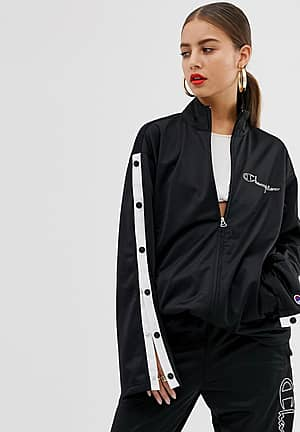 popper tracksuit jacket with front logo co-ord