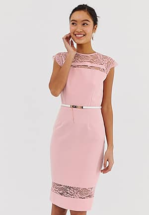lace detail midi dress with belt in white
