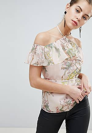 Allover Floral Frilly Cold Shoulder Top