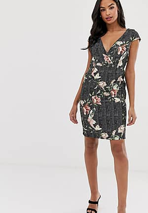 short sleeve floral and check jacquard mock wrap pencil dress