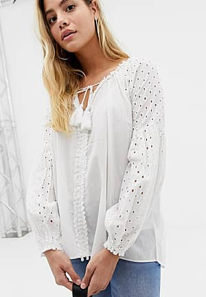 tunic top with crochet sleeves