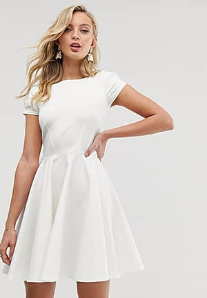 cap sleeve prom skater dress in ivory