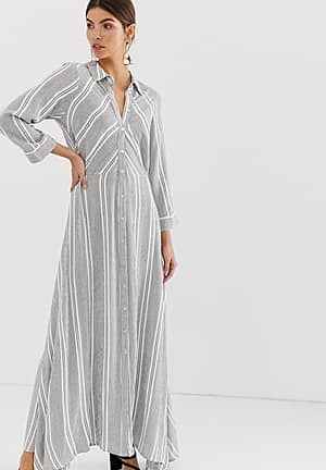 cotton stripe maxi shirt dress