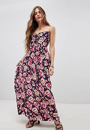 Tie Front Maxi Dress in Floral Print