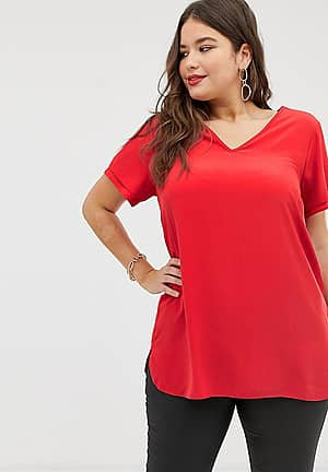 New Look Curve tunic tee in red
