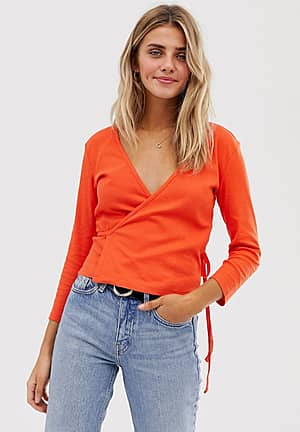 ribbed wrap cropped top