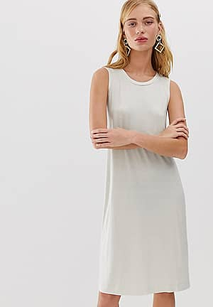 sleeveless jersey mini dress in cream exclusive