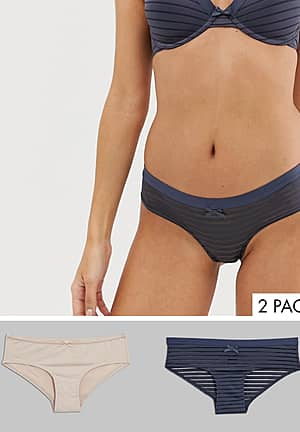 Louise 2 pack hipster briefs in charcoal and blush