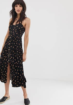 button front tiered midaxi dress in black floral print
