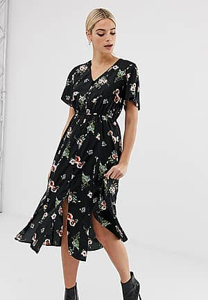 button through midi dress in black floral