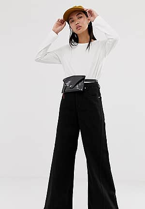 beat super wide leg jeans in tuned black