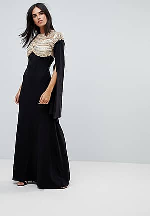 Cape Sleeved Jersey Maxi Dress With Embellished And Mesh Top