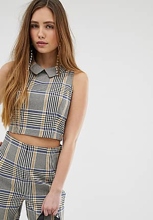 blouse with collar in check