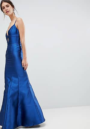 Fishtail Maxi Dress With Cut Out Detail