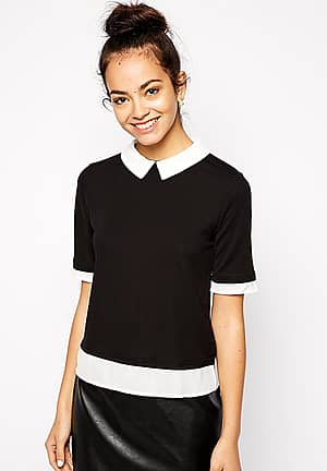 Contrast Collar And Hem T-Shirt
