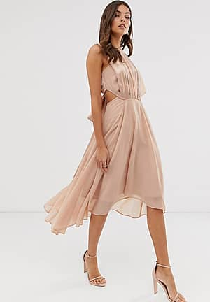 midi dress in satin and crepe with lace trim and tie waist