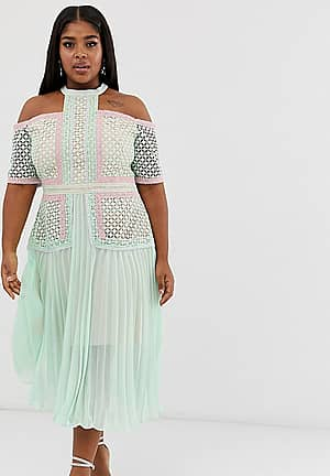 premium cold shoulder midi dress with lace panels and pleated skirt in tonal mint