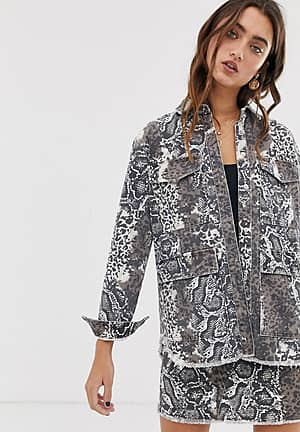 snake print utility denim jacket