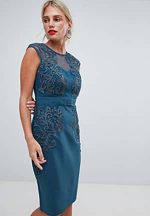 Bodycon Dress With Embroidered And Mesh Yoke