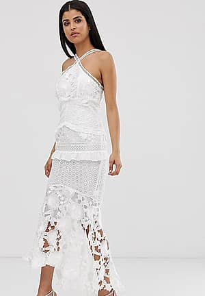 premium lace midi dress with high low hem in white