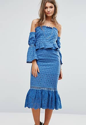 Off The Shoulder Midi Dress With Ruffle Details