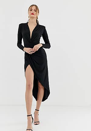 plunge front ruched maxi dress in black