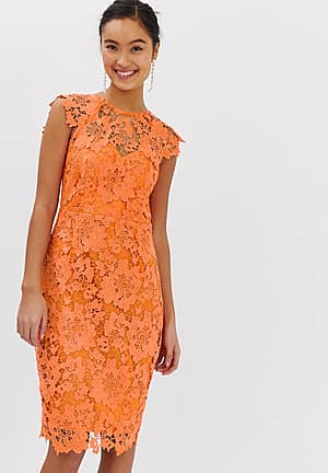 midi lace dress with scalloped back in orange