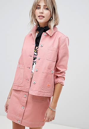 workwear jacket with contrast stitching