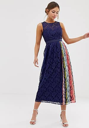 lace prom skater dress with contrast side stripe in navy