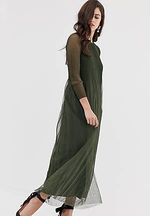 pleated tulle sheer maxi dress