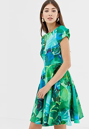 Closet Print Cap Sleeve Skater Dress