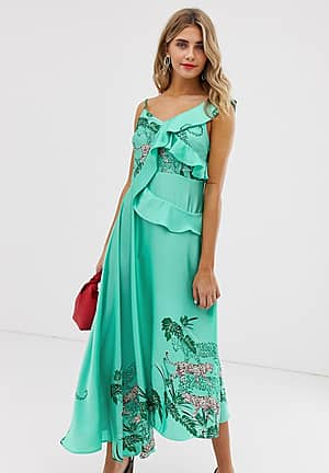 cami midaxi dress with ruffle detail in green tiger print