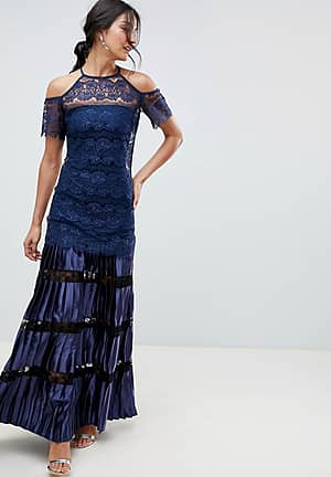 Bodyfrock Cold Shoulder Lace Maxi Dress With Pleated Skirt