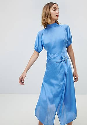 Midi Dress With High Neck And Ring Belt In Satin
