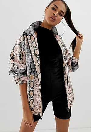 snake spliced bomber jacket