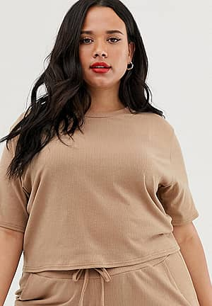 ribbed t-shirt co-ord in camel