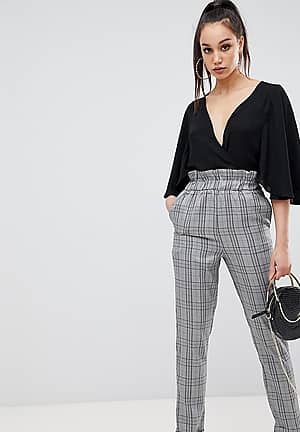 paper bag waist trousers in grey check