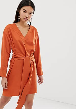 wrap front dress in dark orange