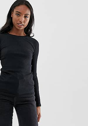selina long sleeve top in rib