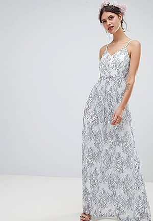 Maxi Dress With All Over Floral Embellishment