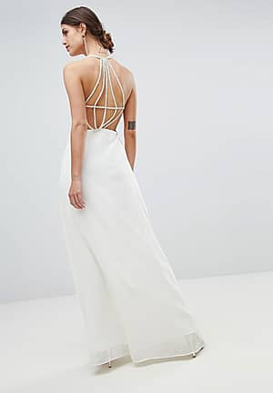 Exposed Back Maxi Dress With Strap Detail