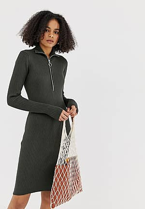 ribbed high neck dress with zip detail