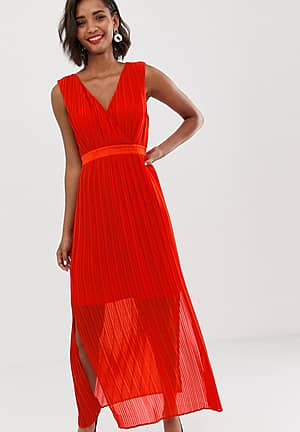 pleated wrap maxi dress