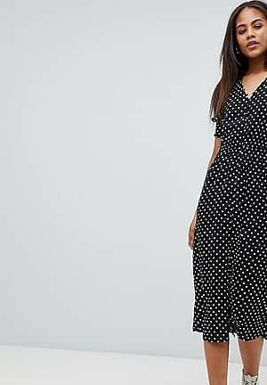 Shirred Sleeve Polka Dot Midi Dress