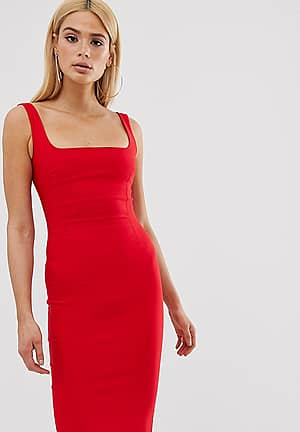 square neck pencil dress in red