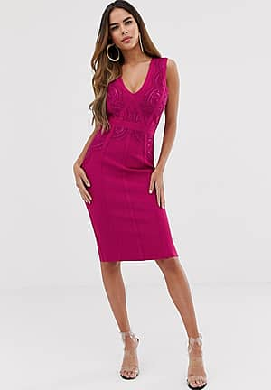 lace bandage dress in pink